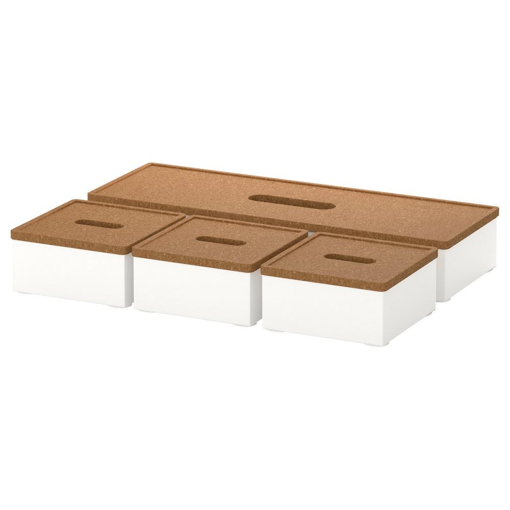 Ящик с крышкой (4 штуки) КВИССЛЕ